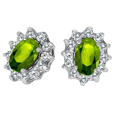 flower oval peridot post