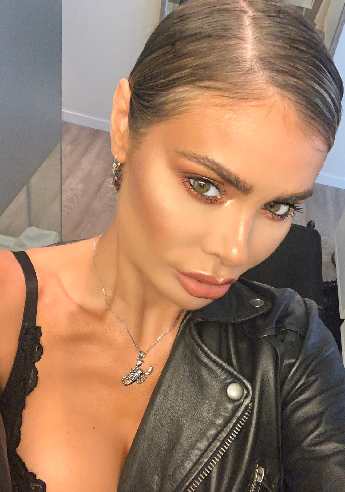 Chloe Sims wears Detailed Sideways Scorpion Pendant Necklace in Sterling Silver  £55