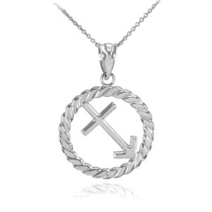Circle Rope Sagittarius Zodiac Pendant Necklace in Sterling Silver