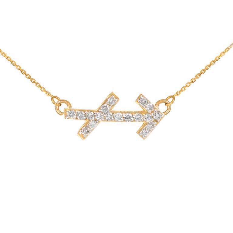 Diamond Sagittarius Zodiac Pendant Necklace in Gold