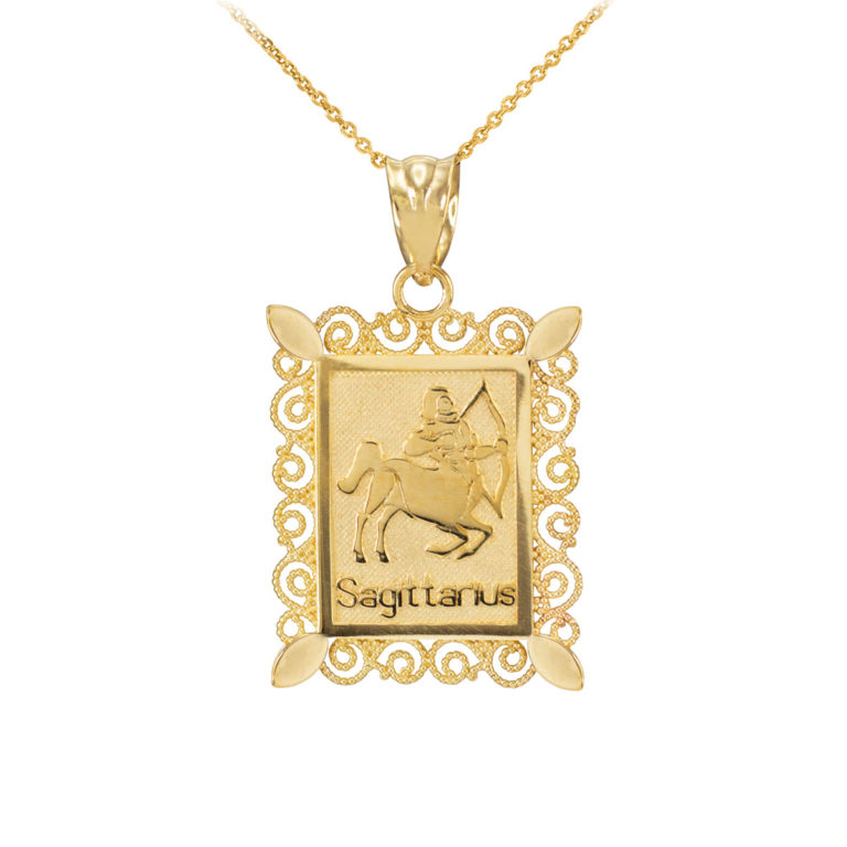 Filigree Sagittarius Zodiac Pendant Necklace in Gold
