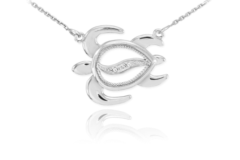 CZ Turtle Pendant Necklace in Sterling Silver