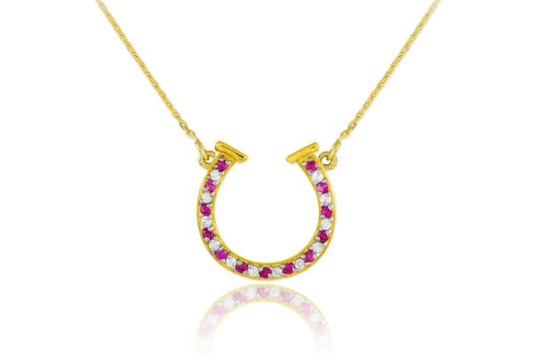 Diamond Horseshoe Pendant Necklace in 9ct Gold