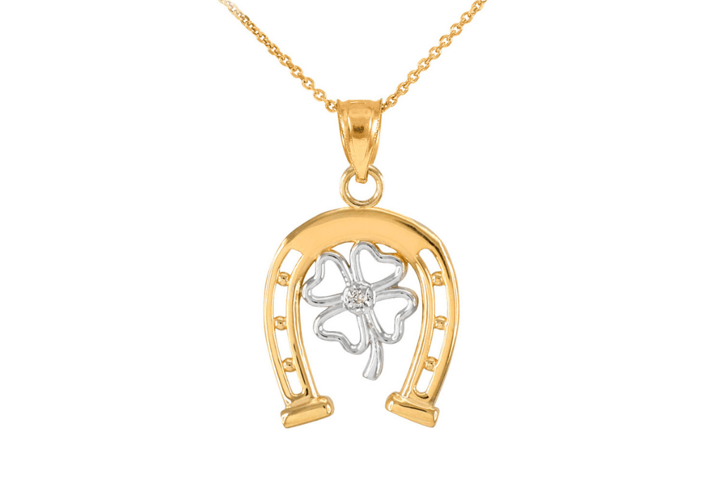 Diamond Lucky Horseshoe 4 Leaf Clover Necklace in 9ct Two-Tone Gold - St Patrick's Day Jewellery