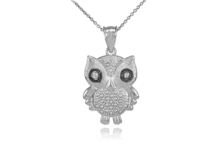 Pet Inspired Pendants Diamond Owl Pendant Necklace in 9ct White Gold