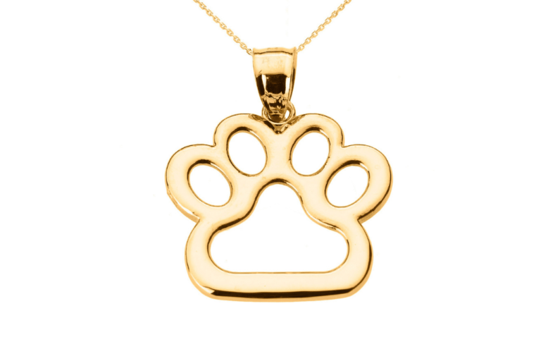 Pet Inspired Pendants Dog Pawprint Charm Pendant Necklace in 9ct Gold