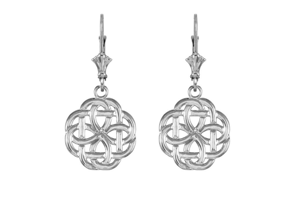 St Patrick's Day jewellery - Eternity Trinity Knot Earrings in Sterling Silver