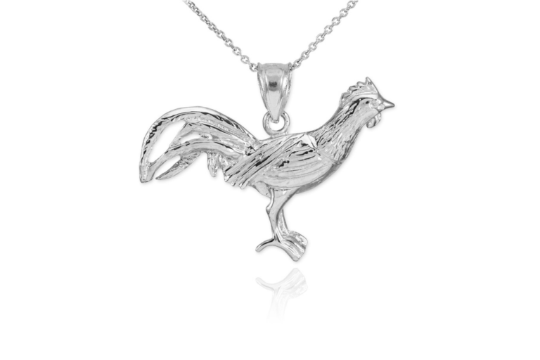 Pet Inspired Pendants - Rooster Charm Pendant Necklace in Sterling Silver