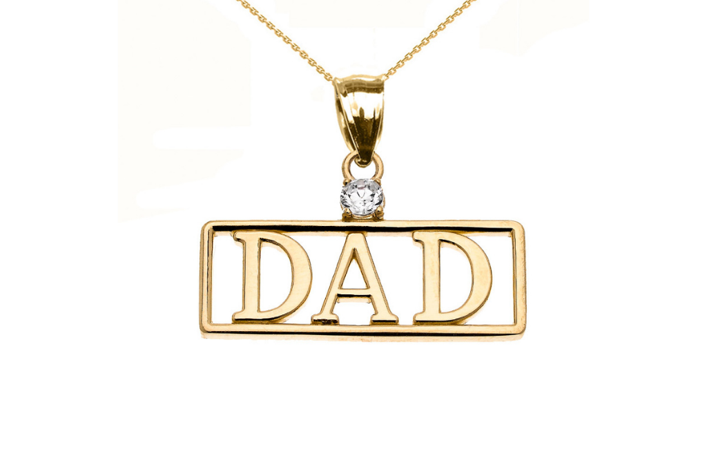 Men's CZ Dad Charm Pendant Necklace in 9ct Gold