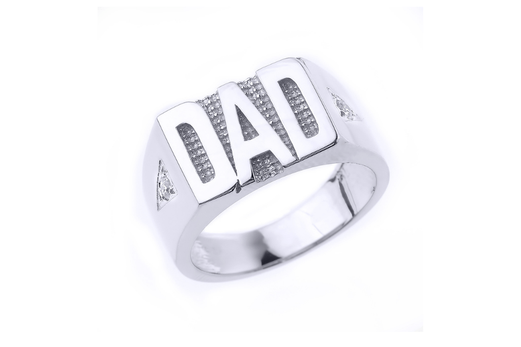 Men's CZ Dad Ring in Sterling Silver