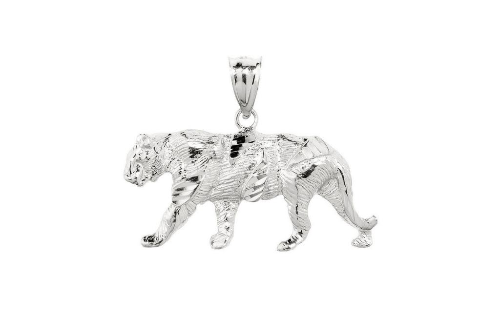Precision Cut Tiger Pendant Necklace in Sterling Silver