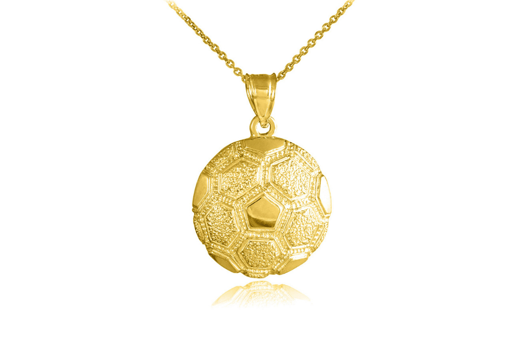 Best Father's Day Gifts - Textured Football Pendant Necklace in 9ct Gold