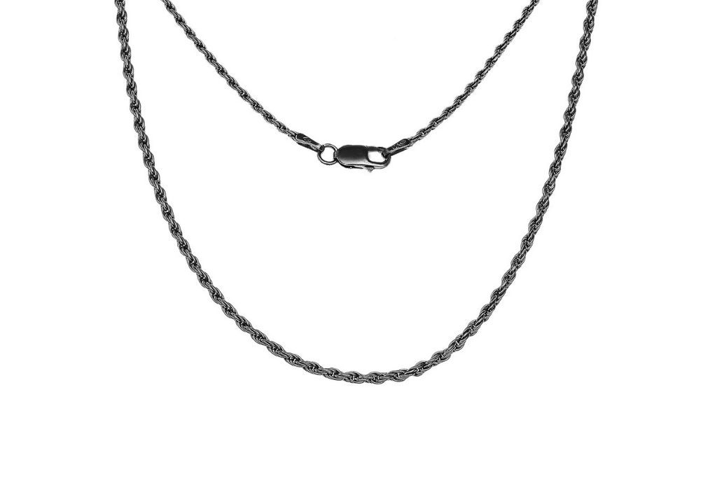 Vintage Style Classic Black Rope Chain in Sterling Silver
