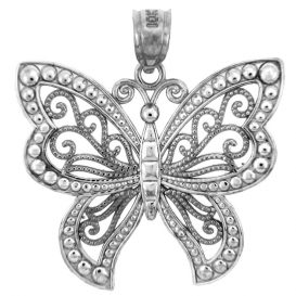 Butterfly Charm Pendant Necklace in Sterling Silver  £59