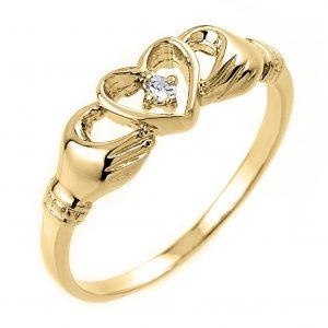 Diamond Claddagh Ring in Gold
