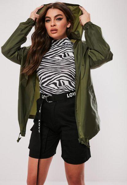 Missguided Khaki Pac a Mac Bumbag Jacket  £15